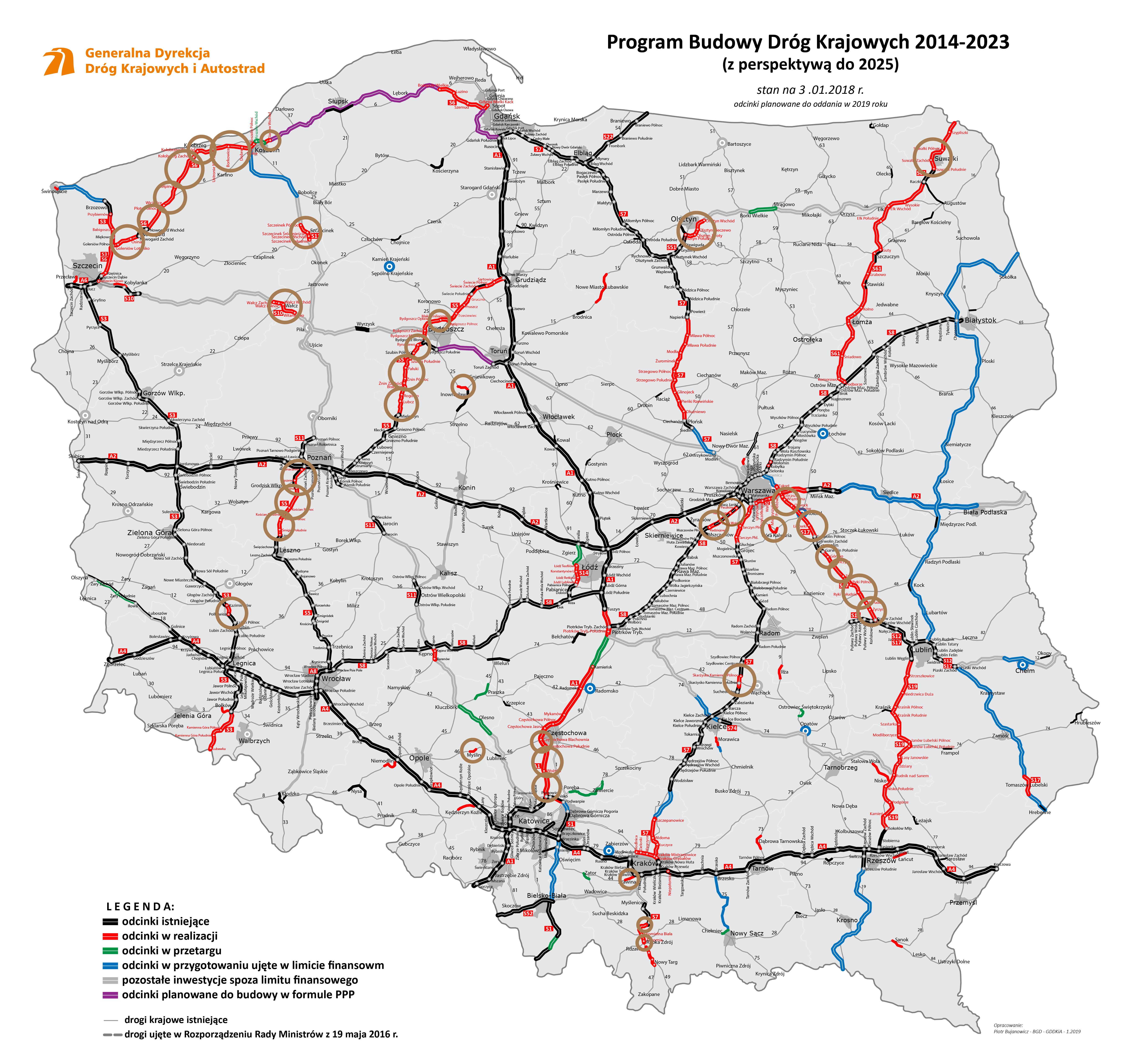 Plany Na Nowe Autostrady I Odcinki Drog W 2019 R Mapa